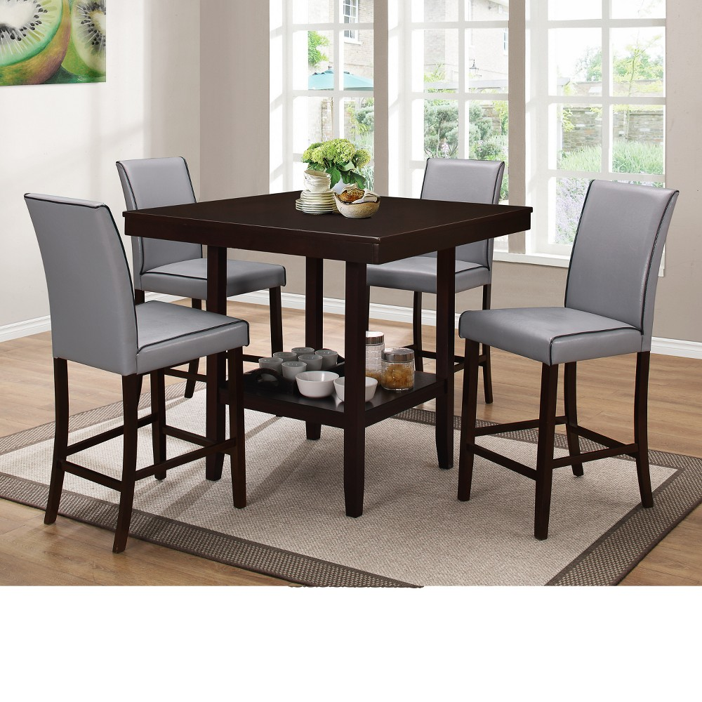 HSI 5pc Counter Height Dinette - Grey/Brown - Home Source Industries, Gray