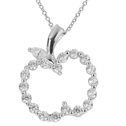 "3/4 CT. T.W. Round-cut CZ Pave Set Cut-out Apple Pendant Necklace in Sterling Silver - Silver (18"") - image 1 of 2"