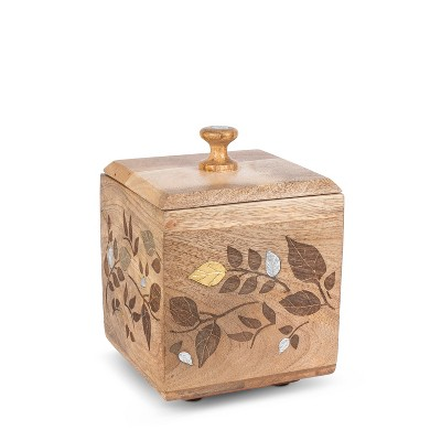 GG Collection Mango Wood with Laser and Metal Inlay Leaf Design Small Canister.