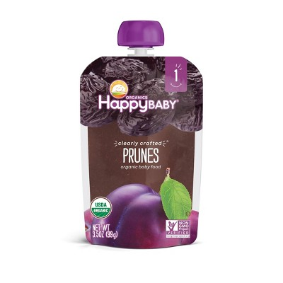 HappyBaby Organics Stage 1 Clearly Crafted Prunes Baby Food Pouch - 3.5oz