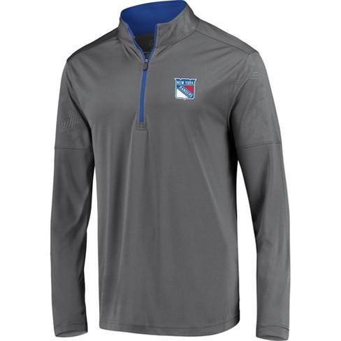 NHL New York Rangers Men's Defender Embossed 1/4 Zip Hoodie - Gray - image 1 of 3