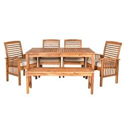 5pc 6pc Acacia Wood Simple Patio Dining Set - Saracina Home