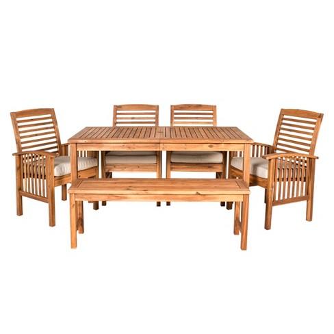 6pc Acacia Wood Simple Patio Dining Set - Saracina Home  - image 1 of 4