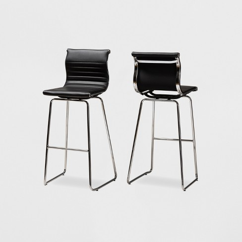 Pleasing Set Of 2 Giorgio Faux Leather Upholstered Chrome Finished Steel Bar Stools Black Baxtonstudio Caraccident5 Cool Chair Designs And Ideas Caraccident5Info