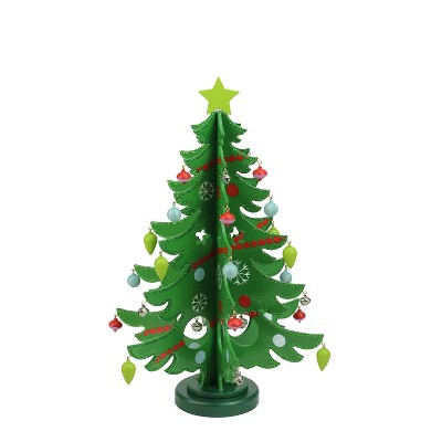 """Northlight 13.75"""" Green Christmas Tree Cut Out With Ornaments Table Top Decor"""