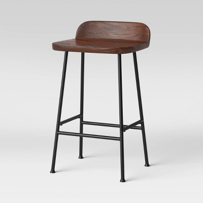 Lorton Low Back Metal Leg Wood Counter Height Barstool - Threshold™