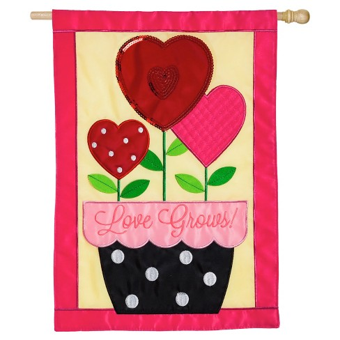 Valentine's Day Love Grows Regular Applique Flag - image 1 of 1