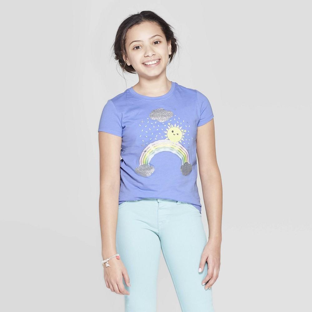Girls' Short Sleeve Rainbow Printed Graphic T-Shirt - Cat & Jack Blue S