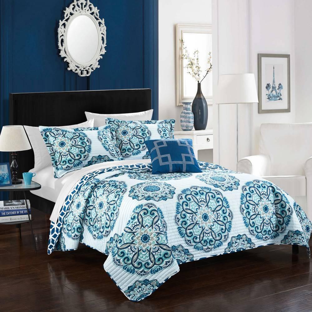 Chic Home Design Twin 3pc Miranda Quilt Sham Set Blue