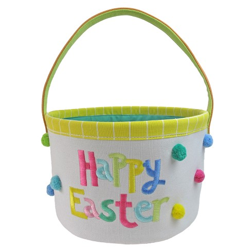 "Easter White Canvas Basket ""Happy Easter"" - Spritz™ - image 1 of 1"