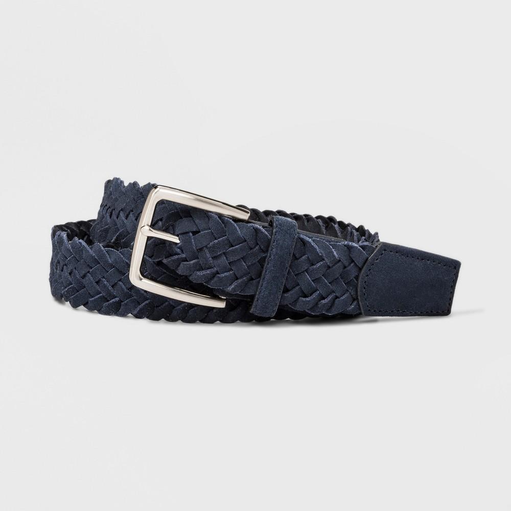 Image of Men's 35mm Suede Braid Belt - Goodfellow & Co Navy L, Size: Large, Blue