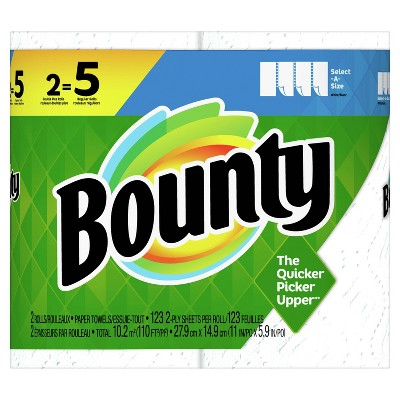 Bounty Select A Size Paper Towels 2 Double Plus Rolls = 5 Regular Rolls