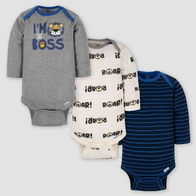 Gerber Baby Boys' 3pk 'The Boss' Long Sleeve Onesies - Gray/Blue 3-6M