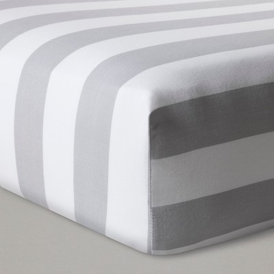 Fitted Crib Sheet Rugby Stripes - Cloud Island™ Gray