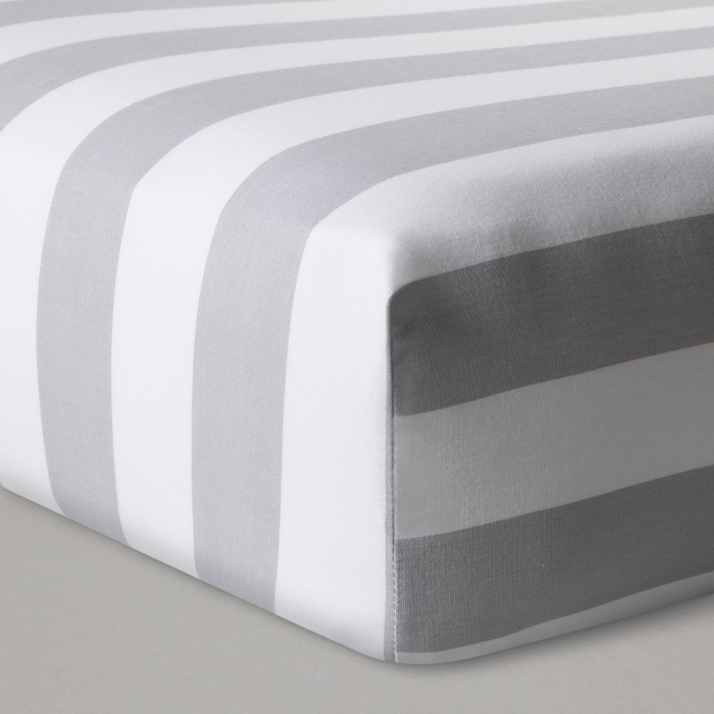 Fitted Crib Sheet Rugby Stripes - Cloud Island Gray