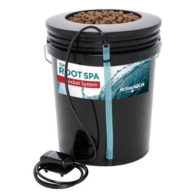 Active Aqua RS5GALSYS Root Spa 5 Gallon Hydroponic Bucket Deep Water Culture Grow Kit System with Multi-Purpose Air Hose and Air Pump, Black