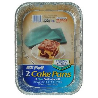 Hefty EZ Foil Teal Cake Pan with Lids - 2ct