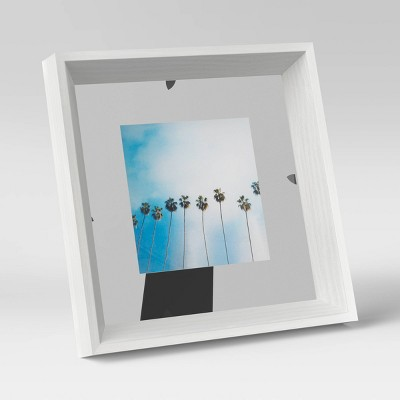 """4"""" x 4"""" Wedge Floating Picture Frame White - Room Essentials™"""