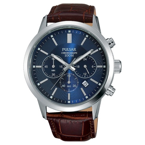 Men's Pulsar Chronograph - Brown Leather Strap and Blue Dial - PT3789X - image 1 of 1