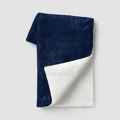 """50""""x60"""" Solid Plush with Sherpa Reverse Throw Blanket Blue - Threshold™"""