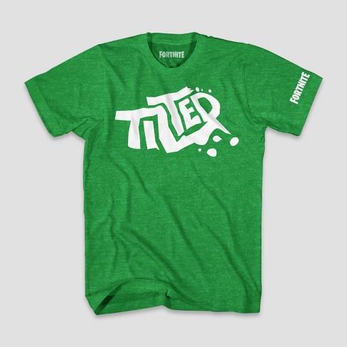 96a2bbdb04c Boys  Fortnite Tilted Logo Short Sleeve T-Shirt - Green Heather   Target