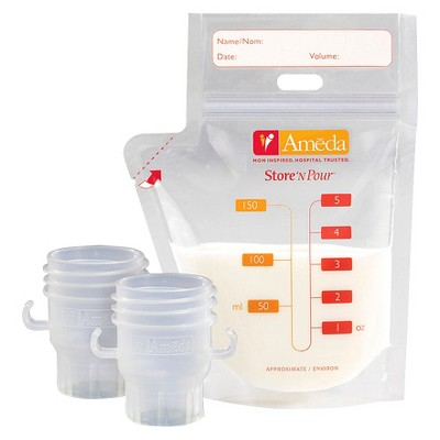 Ameda Store N Pour Milk Storage Bags with 2 Adaptors - 20ct