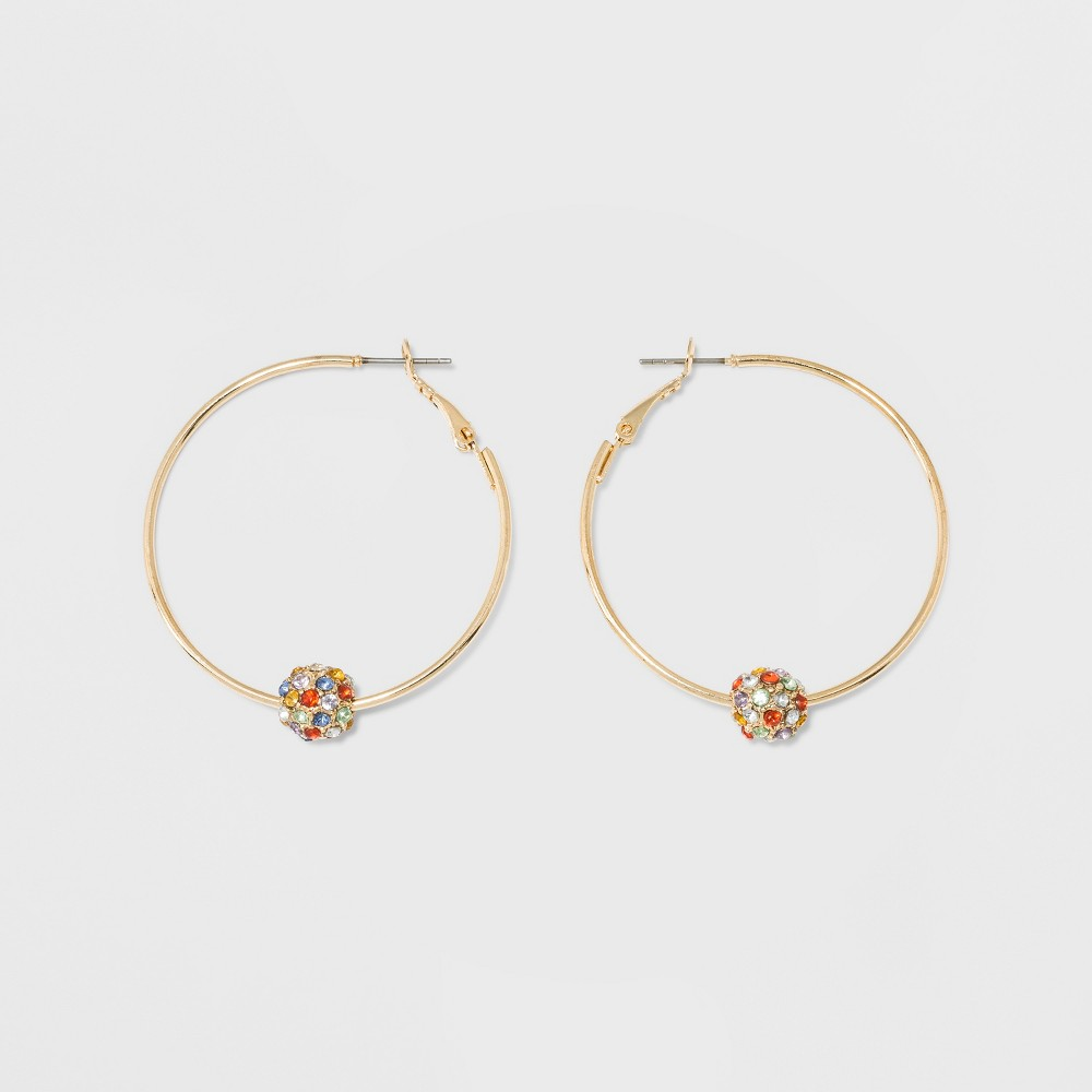 Sugarfix by BaubleBar Hoop Earrings with Crystal Charms - Rainbow, Girl's, Multicolor Rainbow