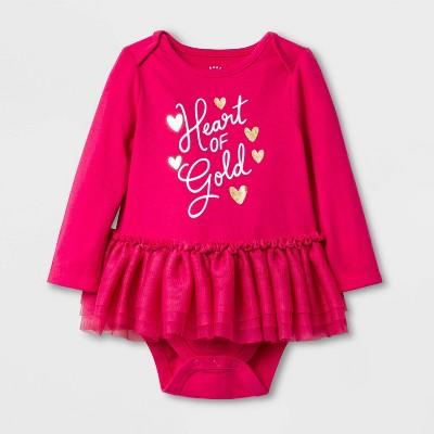 Baby Girls'  Heart of Gold  Tutu Bodysuit - Cat & Jack™ Pink Newborn