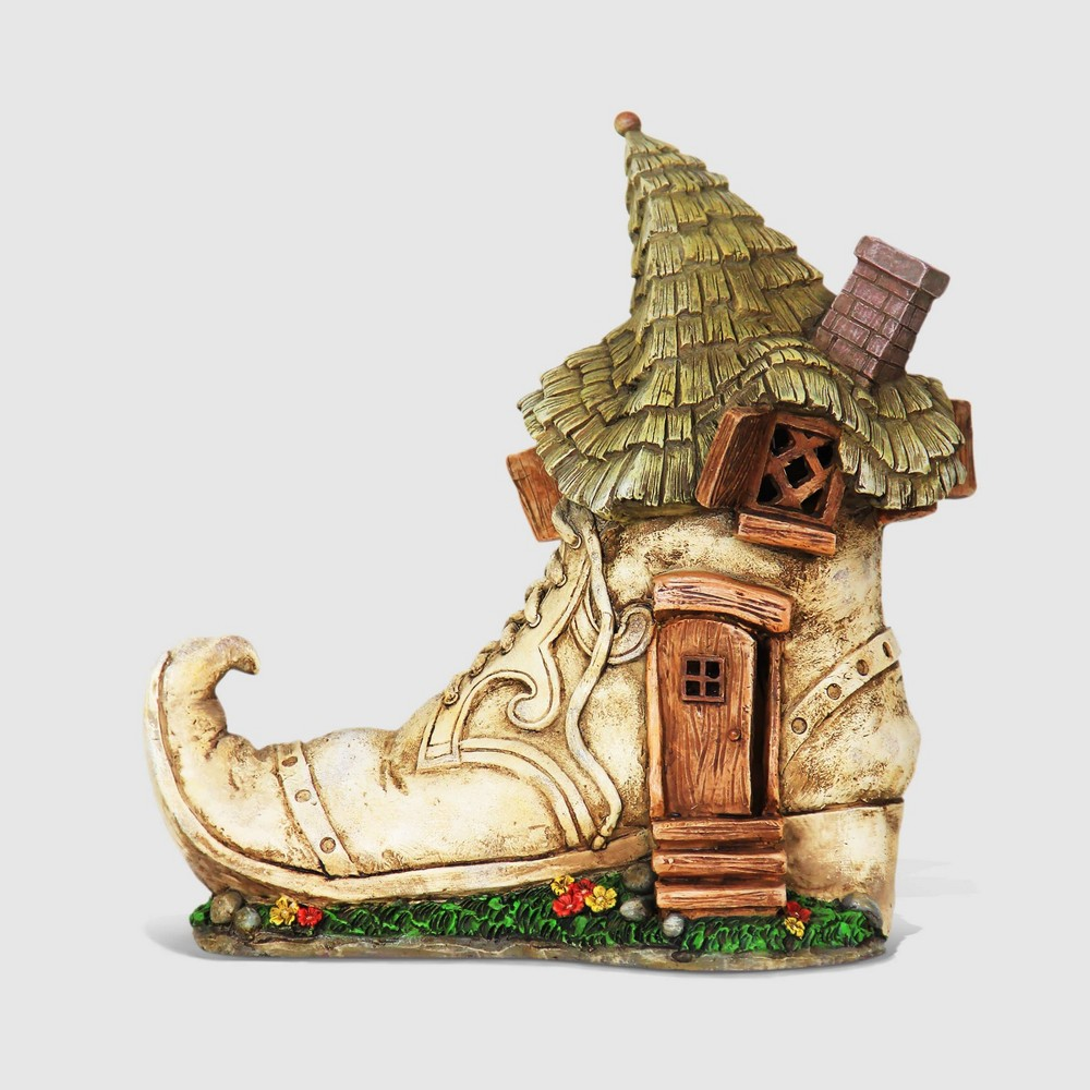 10 Solar Old Lady Shoe House Resin Statue - Exhart, Multi-Colored