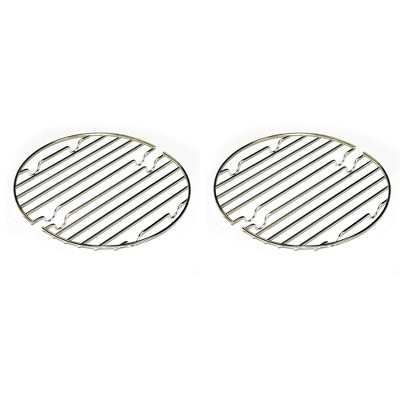 CanCooker Round Outdoor Stainless Steel Two Piece CanCooker Rack, Raising Food Up and Prevents Burning and Sticking Meals, Silver  (2 Pack)