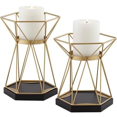 Studio 55D Symmetry Matte Gold Pillar Candle Holders Set of 2