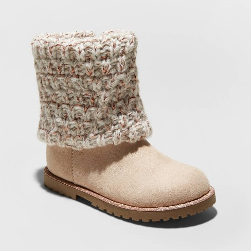 Toddler Girls' Lilla Fashion Boots - Cat & Jack™ Tan - image 1 of 3