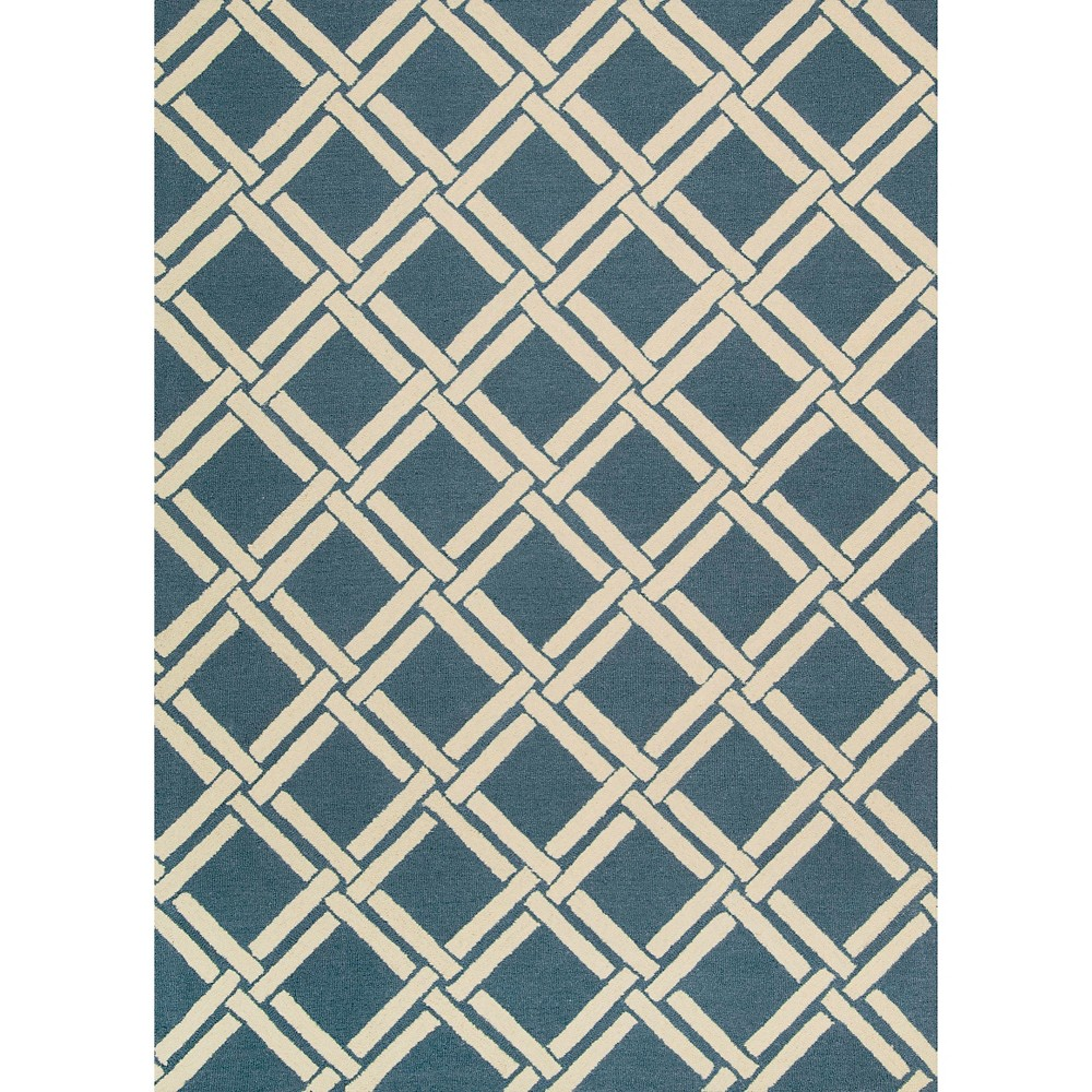 """Image of """"Nourison Diamond Lattic Linear Accent Rug - Teal/Ivory (Blue/Ivory) (3'9""""""""X5'9"""""""")"""""""