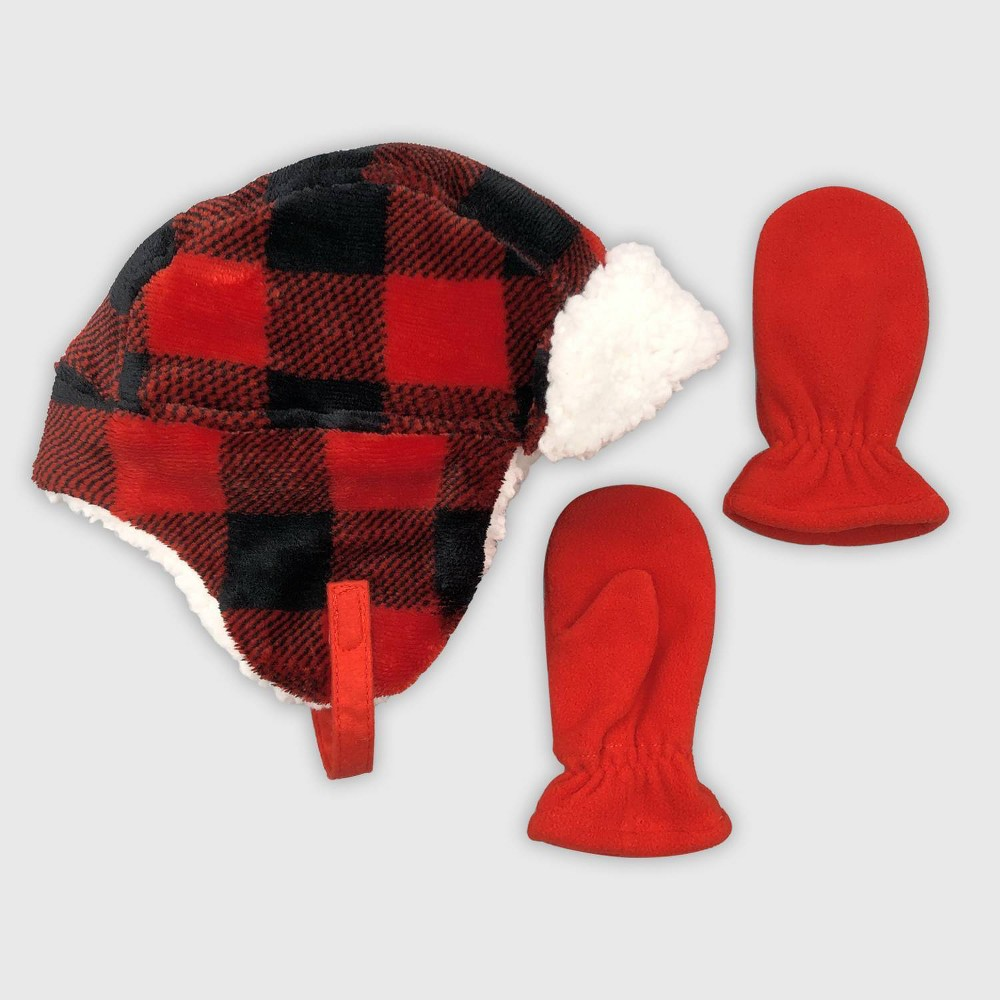 Image of Baby Boys' Hat And Glove Set - Cat & Jack Red 12-24M, Boy's, Size: 18-24 Months 12-18 Months
