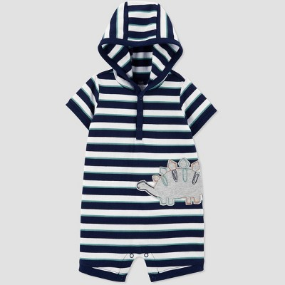 Baby Boys' Dino Striped Hooded Romper - Just One You® made by carter's Navy 3M