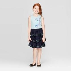Girls' Frozen 2 Layered Dress - Navy/Light Blue