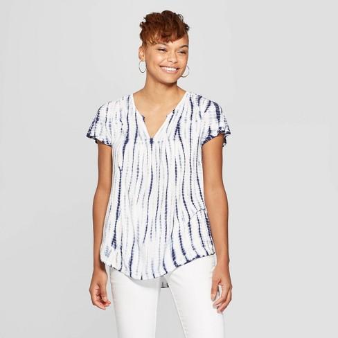Women's Short Sleeve V-Neck Tie Dye Top - Knox Rose™ Navy - image 1 of 2