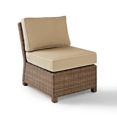 Brandenton Weathered Outdoor Wicker Armless Chair - Brown - Crosley