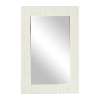 "24"" x 36"" Contemporary Bone Rectangular Wall Mirror White - Olivia & May"