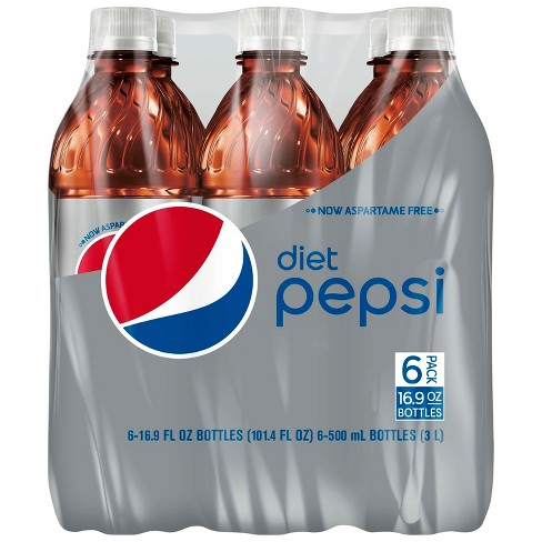 Pepsi Diet Cola Soda - 6pk/16.9 fl oz Bottles - image 1 of 4