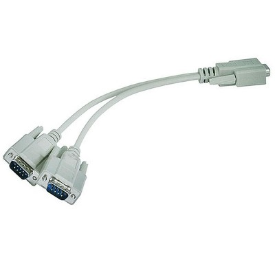 Monoprice RS232 Serial Mouse or Monitor Splitter cable - (1)DB9 female to (2) DB9 male