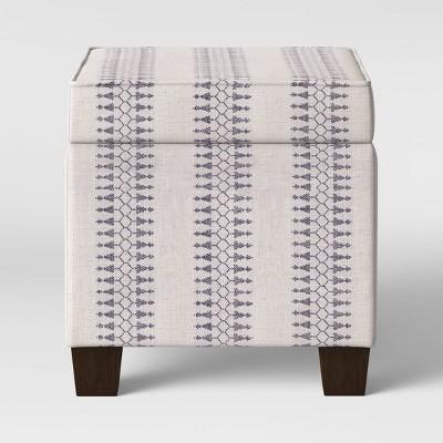 Peachy Fairland Square Storage Ottoman Geometric Muslin Threshold Machost Co Dining Chair Design Ideas Machostcouk