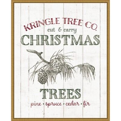 "16"" x 20"" Christmas Tree Farm Sign by Wild Apple Portfolio Framed Canvas Wall Art - Amanti Art"