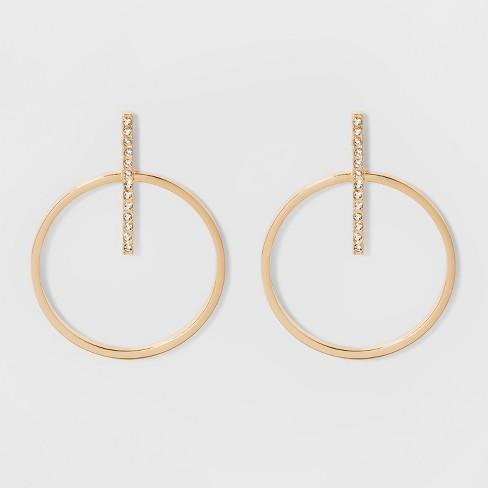 Sugarfix By Baublebar Gold Hoop Studs With Crystal Earrings