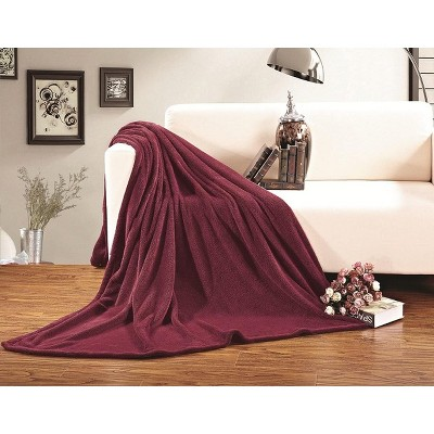Elegant Comfort Luxury All-Season Ultra Plush Solid Velour Fleece Blanket.