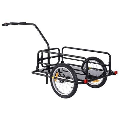Aosom Foldable Bike Cargo Trailer Cart with Hitch Large Capacity 16'' Wheels - Black