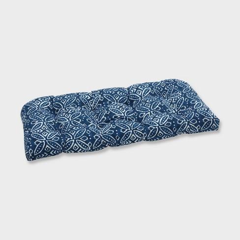 Merida Indigo Wicker Outdoor Loveseat Cushion Blue - Pillow Perfect - image 1 of 2