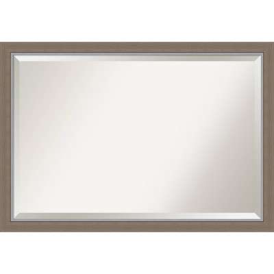 "39"" x 27"" Eva Framed Bathroom Vanity Wall Mirror Brown - Amanti Art"