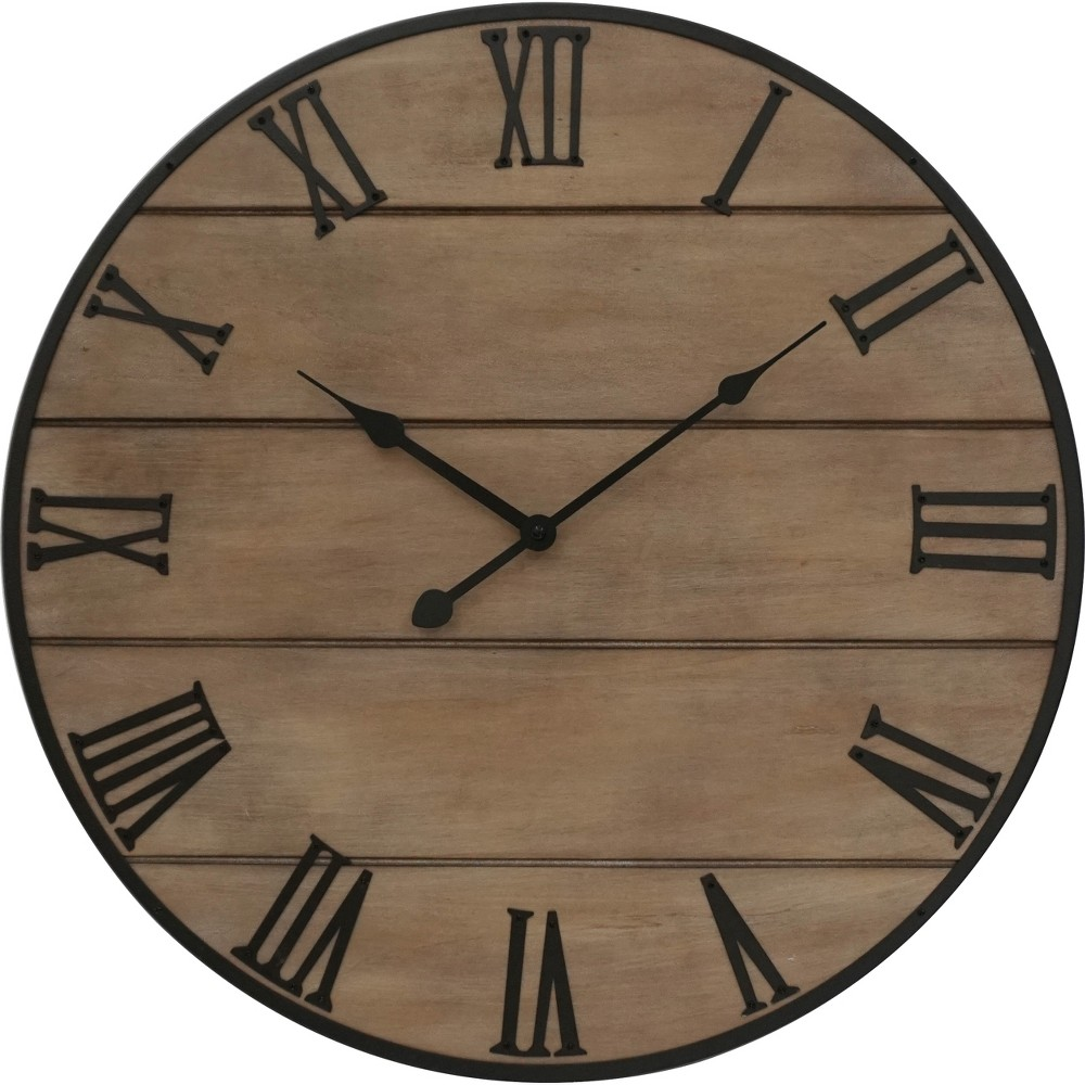 23 Brown Wood With Metal Numbers Wall Clock Light Brown - Threshold