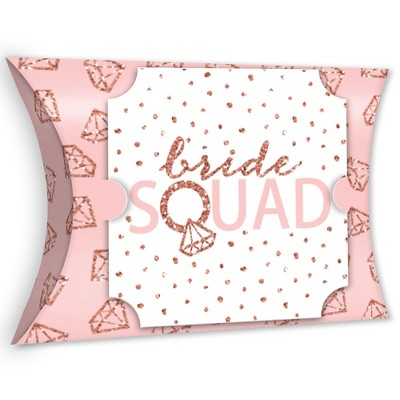 Big Dot of Happiness Bride Squad - Favor Gift Boxes - Rose Gold Bridal Shower or Bachelorette Party Large Pillow Boxes - Set of 12